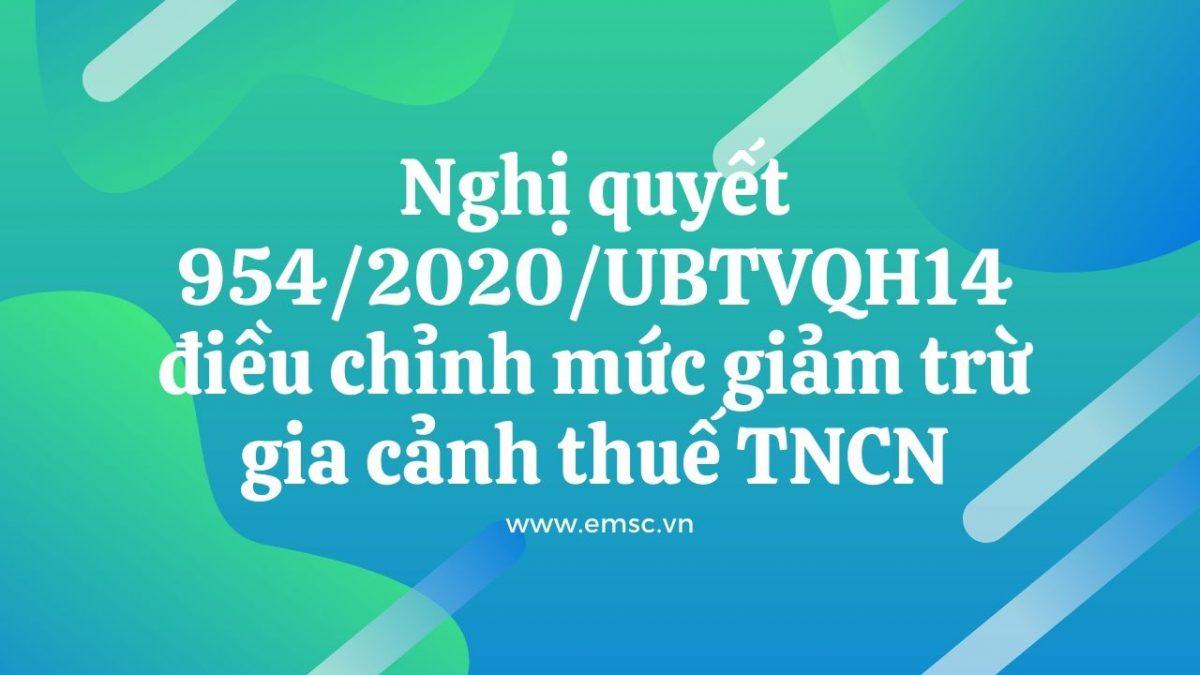Nghị quyết 954 2020 UBTVQH14 điều chỉnh mức giảm trừ gia cảnh của thuế TNCN